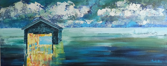 Living room painting by Izabela Rudzka titled  House on the water