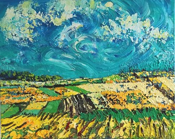 Obraz do salonu artysty Izabela Rudzka pod tytułem  Żółte pola