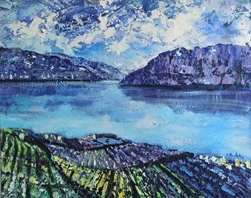 Obraz do salonu artysty Izabela Rudzka pod tytułem Jezioro i góry