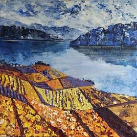 Obraz do salonu artysty Izabela Rudzka pod tytułem Góry i żółta ziemia