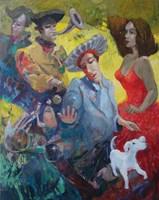 Living room painting by Tomasz Bachanek titled  Madrygałki-Transience