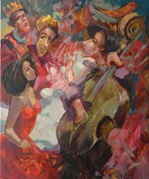 Obraz do salonu artysty Tomasz Bachanek pod tytułem Zasłuchani