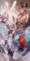 Obraz do salonu artysty Tomasz Bachanek pod tytułem Na górze róże na dole koty