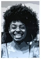 Living room painting by Jakub Osiak titled Afro girl 3D