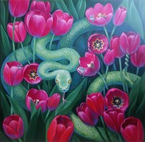 Living room painting by Svitlana Ulka titled Tulips