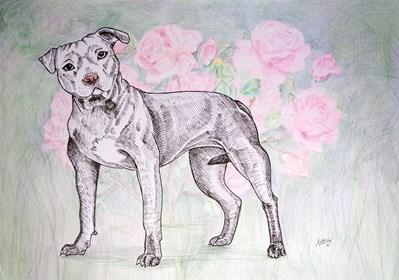 Obraz do salonu artysty Marta Horodniczy pod tytułem Pies w ogrodzie