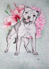 Obraz do salonu artysty Marta Horodniczy pod tytułem Kwiaty Ci przynoszę. Pies