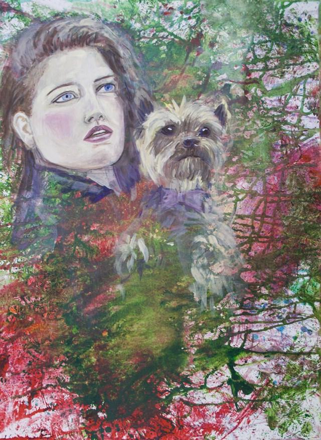Obraz do salonu artysty Marta Horodniczy pod tytułem W parku. Kobieta z psem