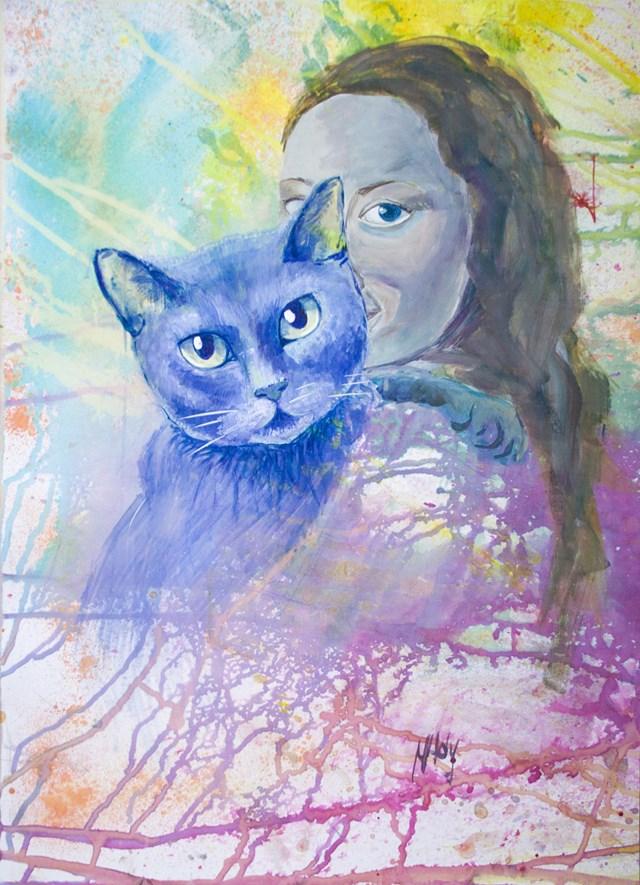 Obraz do salonu artysty Marta Horodniczy pod tytułem Przyciąganie odpychanie. Kobieta i kot