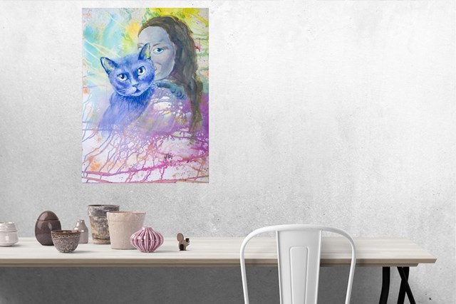 Przyciąganie odpychanie. Kobieta i kot - wizualizacja pracy autora Marta Horodniczy