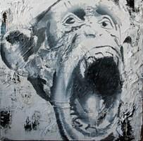 Living room painting by Mariusz Mierzejewski titled Scream