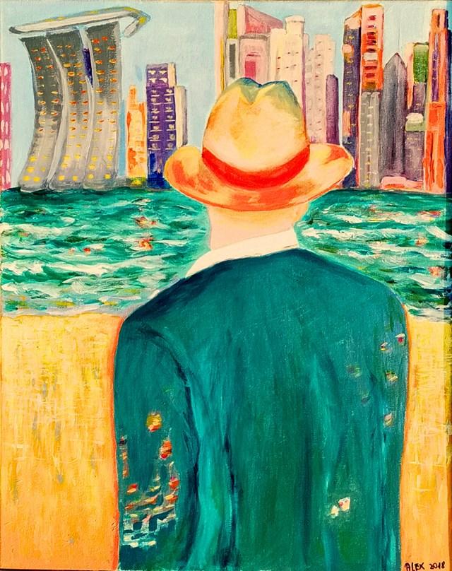 Obraz do salonu artysty Aleksandra Hanaj-Podgórska pod tytułem Wspomnienie Singapur