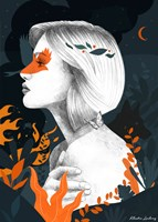 Grafika do salonu artysty Klaudia Leclercq pod tytułem Fire
