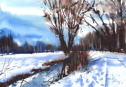 Obraz do salonu artysty Mariusz Kula pod tytułem Pejzaż zimowy