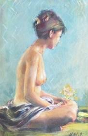 Obraz do salonu artysty Maria Adamus-Biskupska pod tytułem Akt Z Gałązką