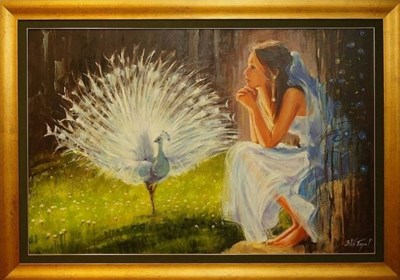Living room painting by Beata Anna Topolińska titled White peacock