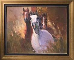 Obraz do salonu artysty Stanisław  Chomiczewski pod tytułem 3 konie