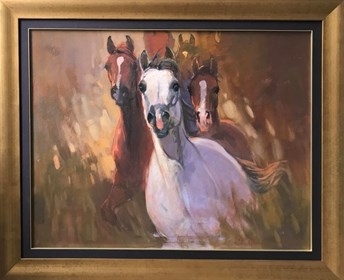 Living room painting by Stanisław Chomiczewski titled 3 horses