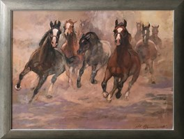 Obraz do salonu artysty Stanisław  Chomiczewski pod tytułem Konie w galopie