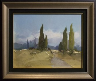 Living room painting by Marian Danielewicz titled From the Cycle - Tuscany Picture -III