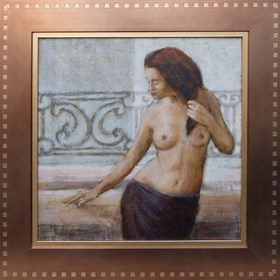Obraz do salonu artysty Monika Krzakiewicz pod tytułem Dziewczyna Na Balkonie