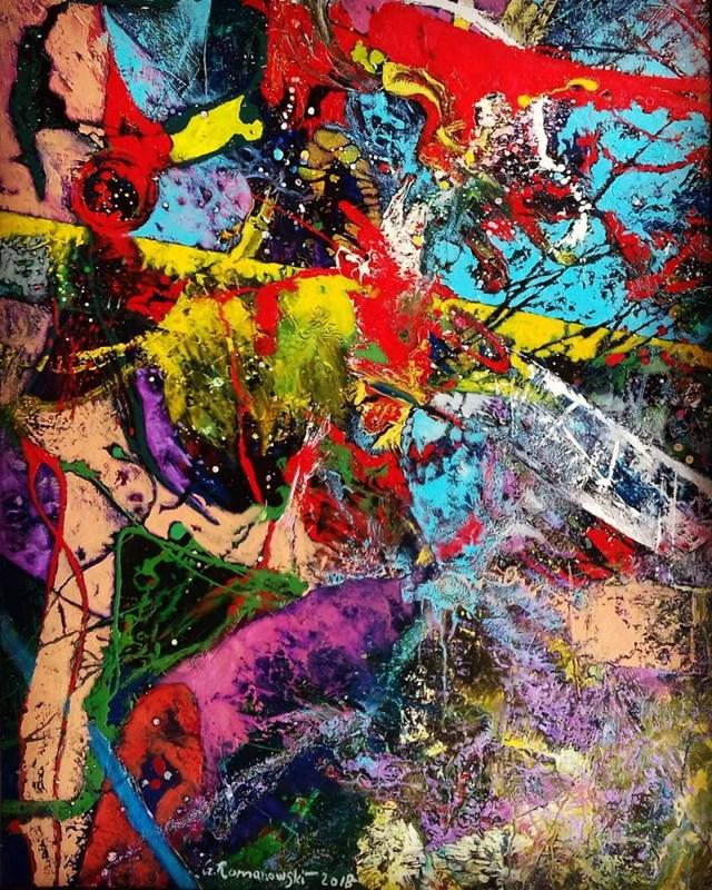 Obraz do salonu artysty Czesław Romanowski pod tytułem Kompozycja czerwono fioletowa