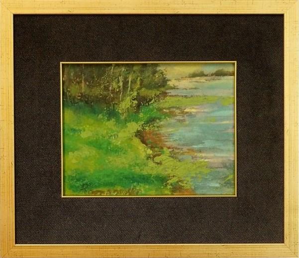 Obraz do salonu artysty Czesław Romanowski pod tytułem Pejzaż Zielony Z Rzeką