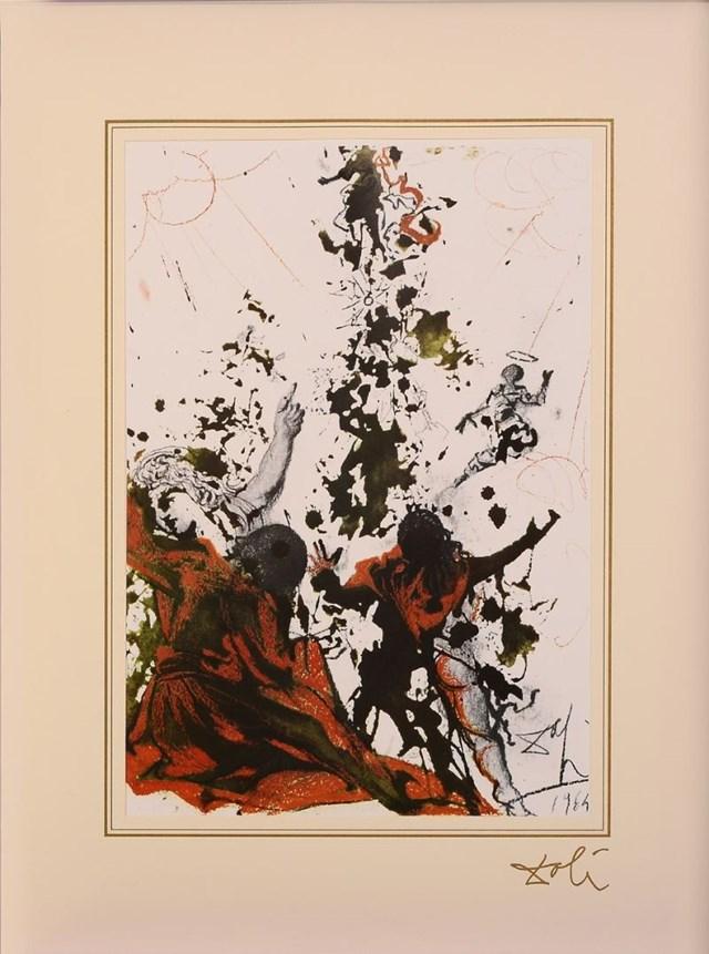 "Grafika do salonu artysty Salvador Dali pod tytułem Matthew 17; 2 z teki ""40 Paintings of the Bible"""