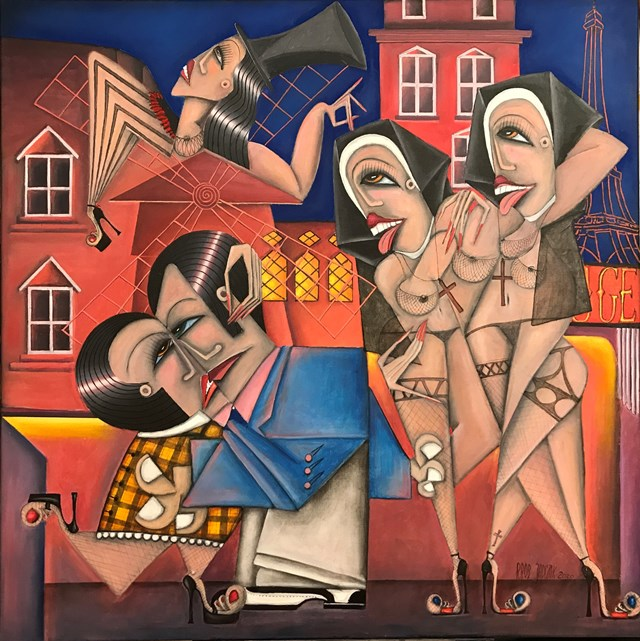 Living room painting by Robert Jadczak titled Sisters from Moulin Rouge