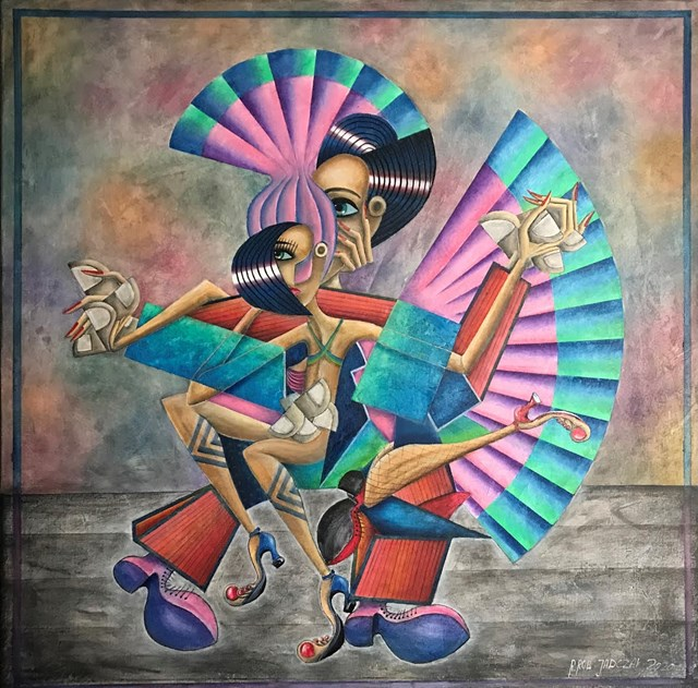 Living room painting by Robert Jadczak titled Samba