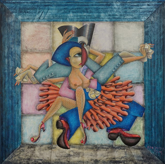 Living room painting by Robert Jadczak titled Baila Baila