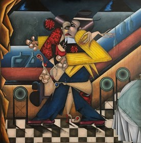 Living room painting by Robert Jadczak titled La Cumparsita  Tango Bar