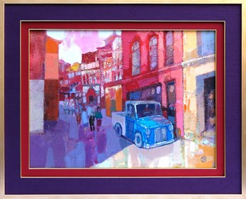 Obraz do salonu artysty Kajetan Pasztuła pod tytułem Niebieski samochód