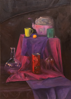 Living room painting by Maria Matras titled purple still life