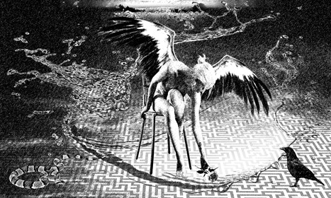 Grafika do salonu artysty Adam Kurłowicz pod tytułem Dotyk nieskończoności