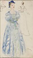 Obraz do salonu artysty Otto Axer pod tytułem Projekt kostiumu - Błękitna suknia, lata 60. XX w.