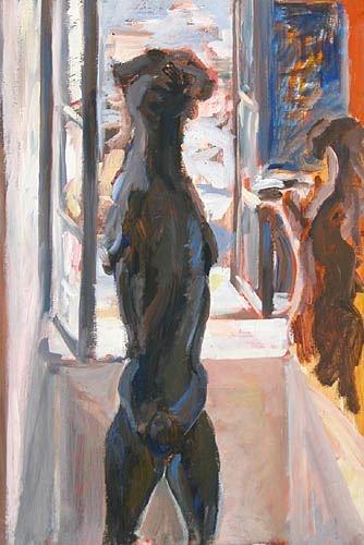 Obraz do salonu artysty Magdalena Gintowt-Juchniewicz pod tytułem Pies w oknie