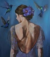Obraz do salonu artysty kamila matkowska pod tytułem koliber i hibiskus