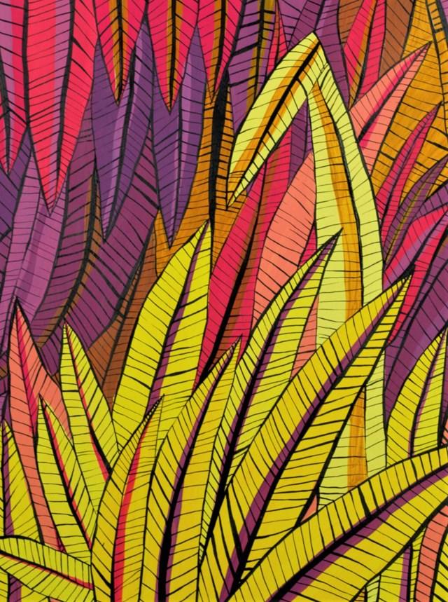 Obraz do salonu artysty Urszula Grosicka pod tytułem Liście żółto-różowe
