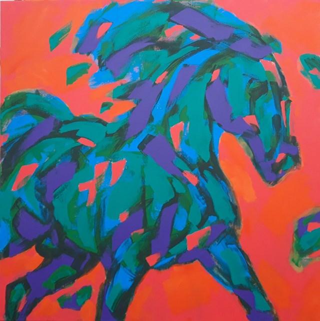 Obraz do salonu artysty Bogusław Lustyk pod tytułem Zielony koń