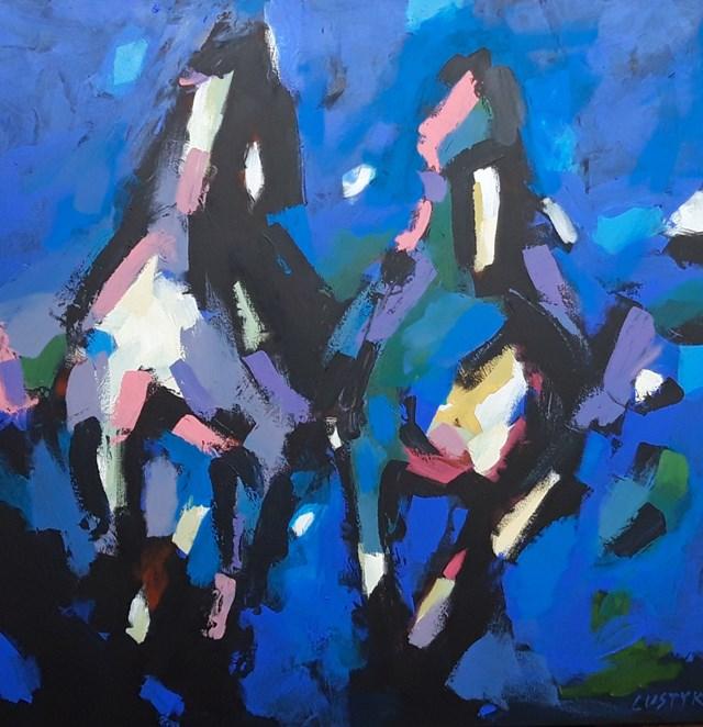 Obraz do salonu artysty Bogusław Lustyk pod tytułem Niebieskie konie