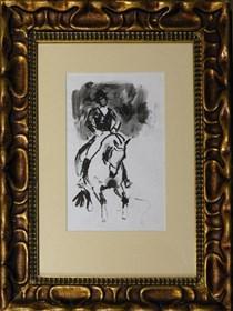 Obraz do salonu artysty Ludwik Maciąg pod tytułem Dżokej na koniu