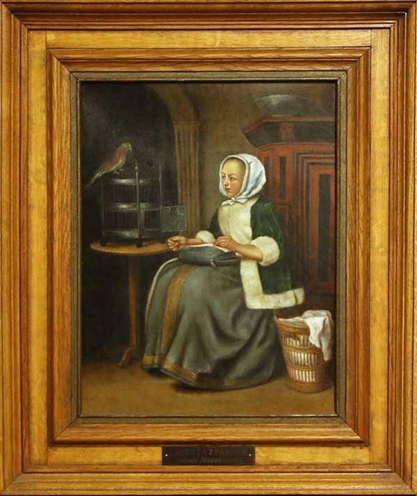 Obraz do salonu artysty Anna Raczkowska pod tytułem Kobieta z papugą