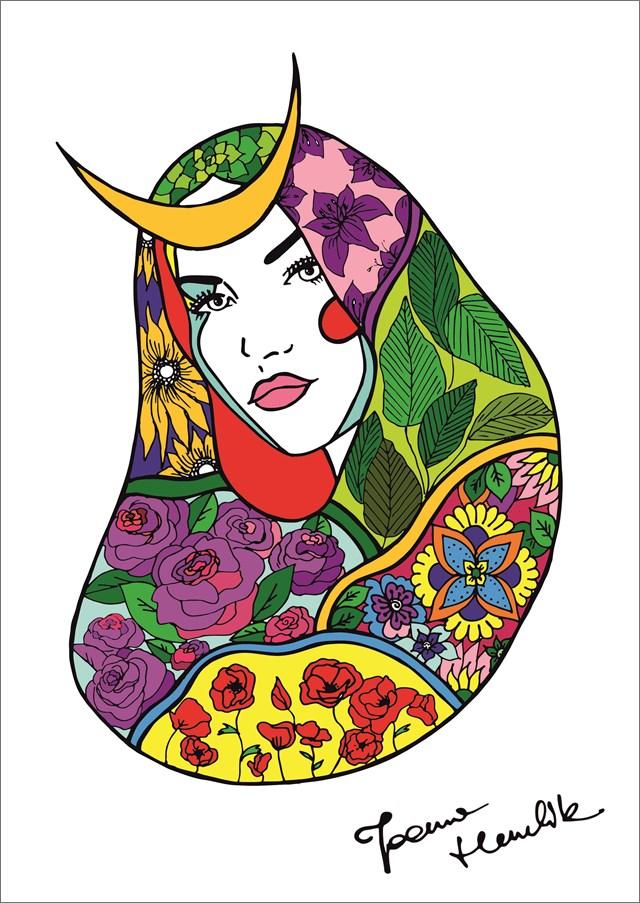 Grafika do salonu artysty Joanna Henclik pod tytułem Byk. Żeńskie znaki zodiaku