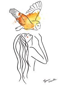 Grafika do salonu artysty Joanna Henclik pod tytułem Kobieta z sową