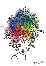 Grafika do salonu artysty Joanna Henclik pod tytułem Kwiaty we włosach