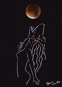 Grafika do salonu artysty Joanna Henclik pod tytułem Biegnąca z wilkami