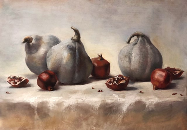 Living room painting by Krystyna Khvostyk titled Pomegranate
