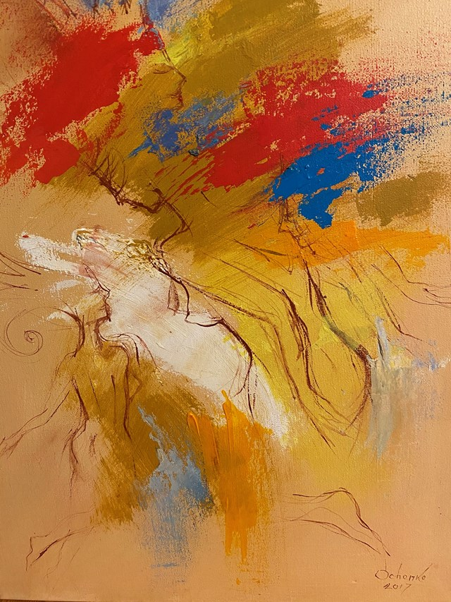 Living room painting by Eugeniusz Ochonko titled  Fuego del Baile II
