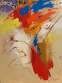 Living room painting by Eugeniusz Ochonko titled  Fuego del Baile I